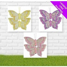 Clip on Glitter Butterflies Assorted Colours (2 Pack)
