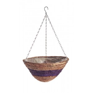 Banana Leaf & Purple Braid Hanging Basket 14""