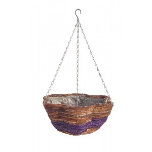 Banana Leaf & Purple Braid Scalloped Basket 14""