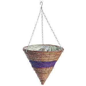 Banana Leaf & Purple Braid Hanging Cone 14""