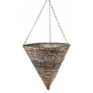 White Wash Rattan Hanging Cone 14""