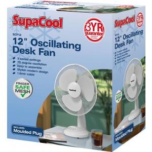 "SupaCool Oscillating Desk Fan 12"" White"