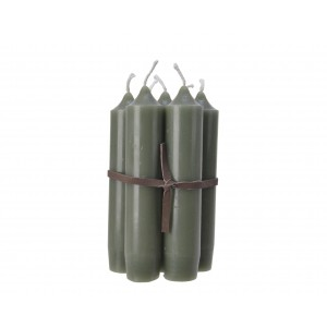 Christmas Leather Cord Candles 11cm  (7 Pack) Sage Green
