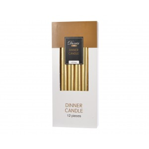 Christmas Dinner Candles (12 Piece) Gold