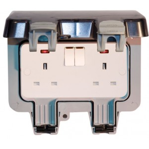 Lyvia 2 Gang Outdoor Switched Socket