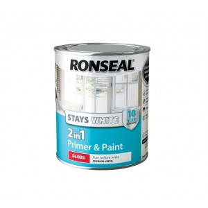 Ronseal Stays White 2 in 1 Primer & Paint 750ml White Gloss