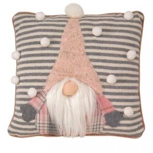 Christmas Gonkert Cushion 33cm Grey/Pink