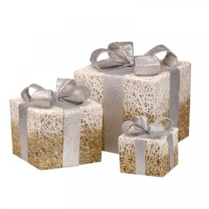 Christmas Gold Sparkly Faux Gift Boxes - Set of 3