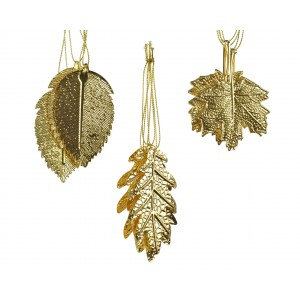 Christmas Assorted Hanging Leaf (3 Pack) Gold