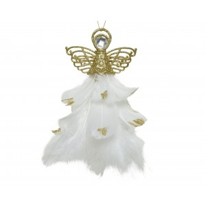 Christmas Glitter Feather Angel 21cm Gold