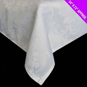 "Damask Tablecloth White 54"" x 72"""
