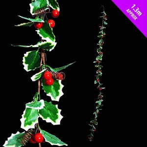Fine Holly Garland 1.3m