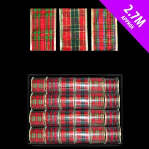 Tartan Wired Ribbon 2.7m