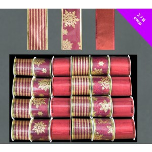Christmas Glitter Wired Ribbon 2.7m Red