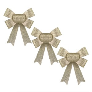 Christmas Glitter Bows 3pack Champagne