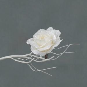 Christmas Clip on Rose 12cm White