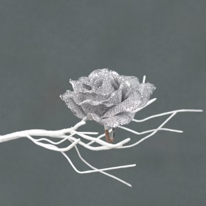 Christmas Clip on Rose 12cm Silver