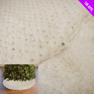 Christmas White Sequin Fur Tree Skirt 100cm