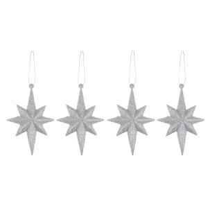 Christmas Glitter Hanging Starburst 4pck Silver
