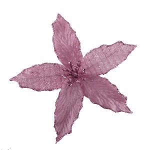 Christmas Mini Velvet Poinsettia 13cm Blush Pink