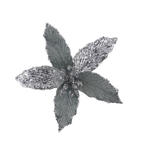 Christmas Mini Velvet Poinsettia 13cm Silver