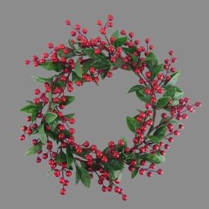 Christmas Bay Leaves & Berry Wreath 35cm