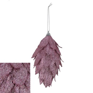 Christmas Textured Long Pink Bauble