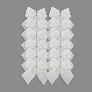 Christmas Tinsel Bows 12pack White