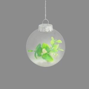 Christmas Mistletoe & Snow Bauble 8cm