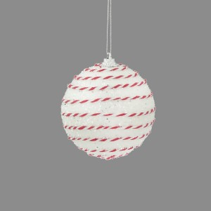 Christmas Candy Cane Glitter Bauble 8cm White