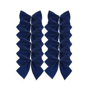 Christmas Velvet Tinsel Bows 12pack Navy
