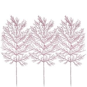 Christmas Glitter Fern 32cm Blush Pink (3 Pack)