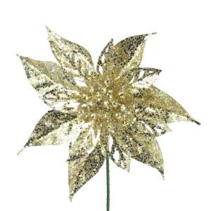 Christmas Glitter Poinsettia 19cm Champagne