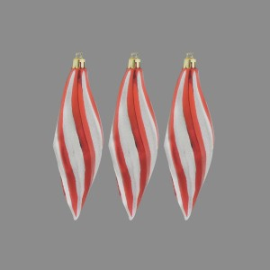 Christmas Swirl Drop Baubles (3 Pack) Candy Cane