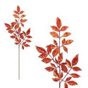 Christmas Glitter Leaves Spray 74cm Red