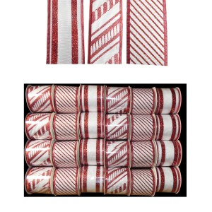 Christmas Glitter Wired Ribbon 2.7m Red/ White