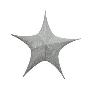 Christmas Jumbo Fabric Hanging Star - Silver 80cm