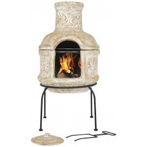 La Hacienda Star Flower Small Clay Chimenea With Grill