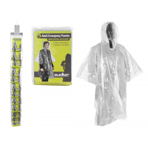Adult Disposable Emergency Rain Poncho - Clear (2 Pack)