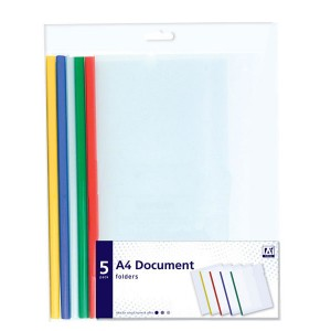 Anker A4 Document Folders (5 Pack) Assorted
