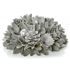 Christmas Luxe Candle Holder 22cm Grey/Silver