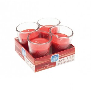 Pan Aroma Votive Scented Candles (4 Pack) Apple & Cinnamon