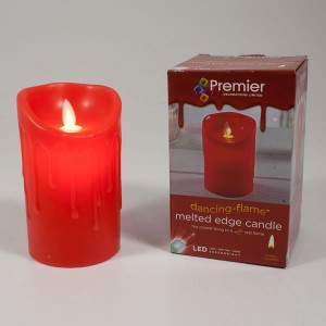 Premier Dancing Flame Melted Edge LED Candle 24cm Red