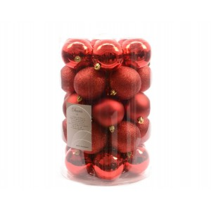 Kaemingk Plain Shatterproof Baubles Mixed Tube Christmas Red 80mm