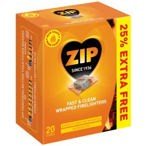 ZIP Wrapped Fast and Clean Firelighters (20 Pack) + 25% Extra