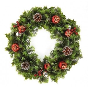 Christmas Pinecone & Red/Gold Bauble Wreath 45cm