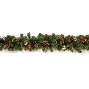 Pre-Dressed Garland 1.8m Gold Berry