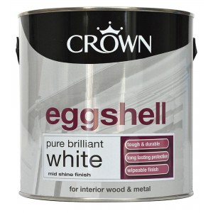 Crown Eggshell Paint 750ml Pure Brilliant White