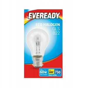 Eveready 46W = 60W BC Warm White GLS Bulb