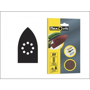 Flexovit Coarse Detail Sanding Sheets 105mm x 175mm (6 Pack)